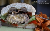 Cheeseburger outside-in!!! With Boursin cheese, shiitake mushrooms, red peppers and bacon