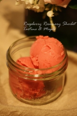 Raspberry & Rosemary Sherbet + whipped cream