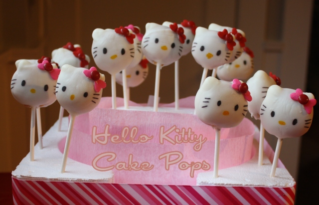 Hello Kitty Cake Pops - Tartine & Maple